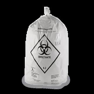 """Saco branco leitoso para<br class=""""d-none d-sm-inline""""> resíduos contaminados"""